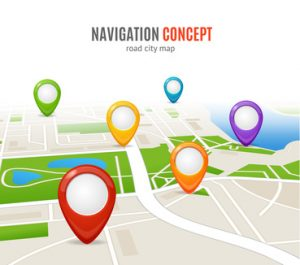 Navigation Concept Road City Map with Set of Pins. Vector illustration